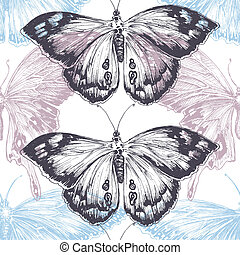 Hand drawn butterfly seamless pattern, texture pastels over white