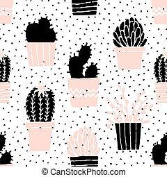 Hand Drawn Cactus Pattern - Hand drawn seamless repeat...