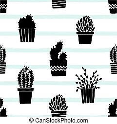 Hand Drawn Cactus Pattern - Hand drawn seamless repeat ...