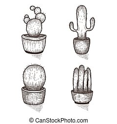 Hand drawn cactus set. Doodle florals in pots. Vector botanical sets with cute house interior plants