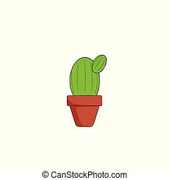 hand drawn cactus with pot vector illustration