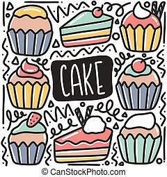 hand drawn cake doodle set
