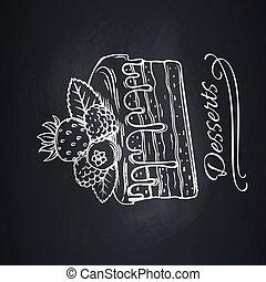 Hand drawn cake on chalkboard