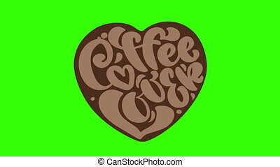 Hand drawn calligraphy lettering text Coffee Lover in form of heart isolated on brown background. Phrase on the theme of coffee. Full HD motion graphic footage with chroma key.