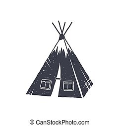 Hand drawn camp tent shape. Indian style tent. Monochrome design. Camping icon, pictogram. Stock vector isolated on white background