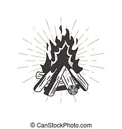 Hand drawn campfire illustration. Sunbursts included....