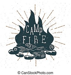 Hand Drawn Campfire with Vintage Sunburst. Vector