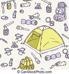Hand drawn camping seamless pattern
