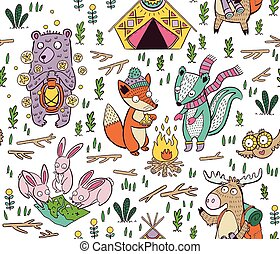 Hand drawn camping seamless pattern with cartoon characters