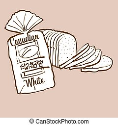Hand-drawn Canadian White bread illustration. White, usually known in Canada. Vector drawing series.