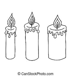 Hand drawn candles. Retro candlesticks. Hand drawn candles isolated on a white background.