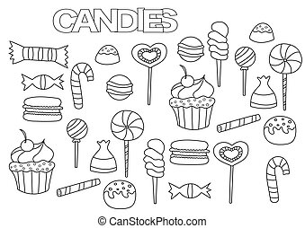 Hand drawn candy bar set. Coloring book page