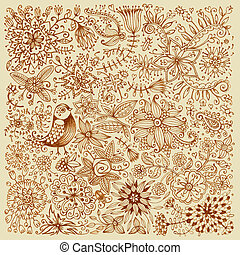 Hand drawn card with flowers and bird