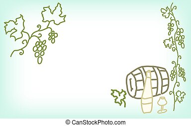 Hand drawn card with grapes, wine, glass, barrel