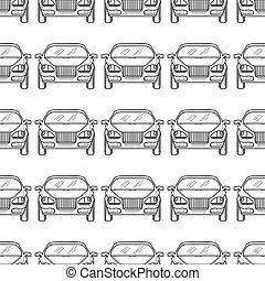 Hand drawn cars silhouette seamless pattern