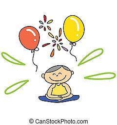 hand-drawn, cartone animato, meditazione
