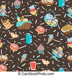 Hand-drawn cartoon background with food and drinks elements, breakfast, Different kind of food and dessert for breakfast