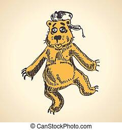 Hand drawn cartoon bear. funny drunk