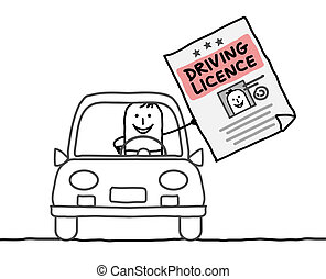 man & driving licence - hand drawn cartoon characters - man...