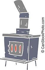 cartoon doodle of a house furnace - hand drawn cartoon...
