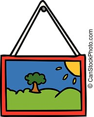 cartoon doodle of a picture in frame