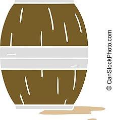 cartoon doodle of a wine barrel