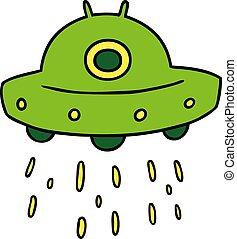 cartoon doodle of an alien ship