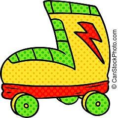 cartoon doodle roller skate boot - hand drawn cartoon doodle...
