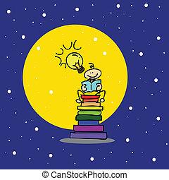 hand-drawn cartoon dream boy reading book
