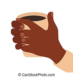 Hand drawn cartoon hands holds a cup of hot drink. African black skin. Close up vector illustration isolated on white background