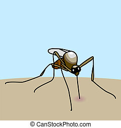 mosquito bite - Hand drawn cartoon illustration of mosquito...