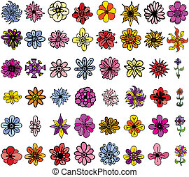Hand-drawn cartoon like flowers - A collection of 48...