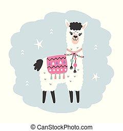 Hand Drawn Cartoon Llama Character, isolated on white. Cute ...