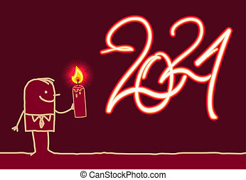 Cartoon Man Drawing a Burning Fire 2021 sign with Candle