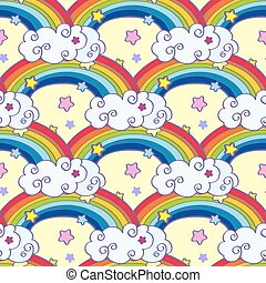 Hand drawn cartoon rainbow, clouds and stars seamless pattern