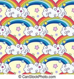 Hand drawn cartoon rainbow, clouds and stars seamless pattern