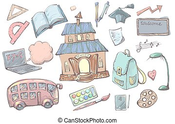 Hand drawn cartoon School supplies and items set isolated on white background. Back to school equipment. Education workspace accessories and school building