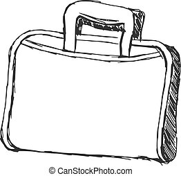 hand drawn, cartoon, sketch illustration of briefcase