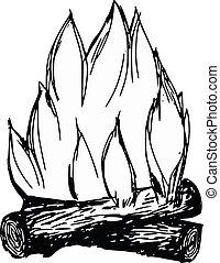 campfire - hand drawn, cartoon, sketch illustration of...