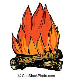 illustration of campfire - hand drawn, cartoon, sketch...