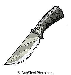 knife - hand drawn, cartoon, sketch illustration of knife