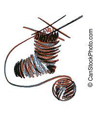 knitting sock - hand drawn, cartoon, sketch illustration of...