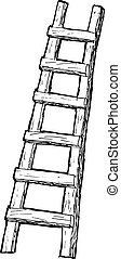 hand drawn, cartoon, sketch illustration of ladder