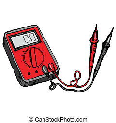 hand drawn, cartoon, sketch illustration of multimeter