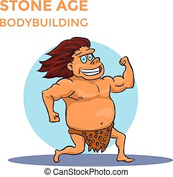 Hand Drawn Cartoon Stone Age Cave Man Shows His Biceps. Vector