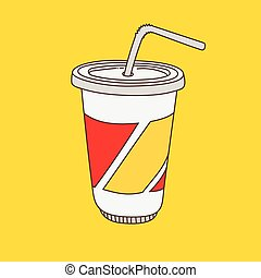 hand-drawn, cartoon-style, 飲みなさい, カップ