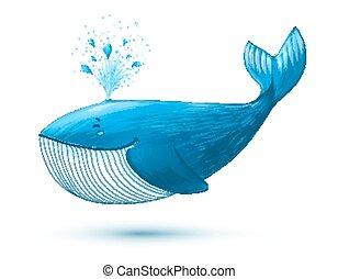Hand drawn cartoon style blue vector whale