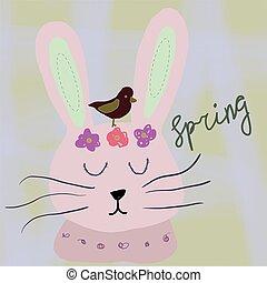 Hand drawn cartoon style easter bunny