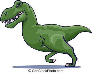 Hand Drawn Cartoon Tyrannosaur running. Vector illustration