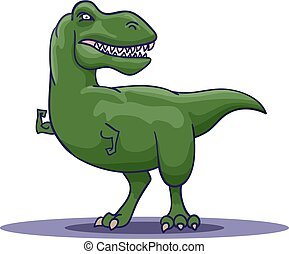 Hand Drawn Cartoon Tyrannosaur shows his biceps. Vector